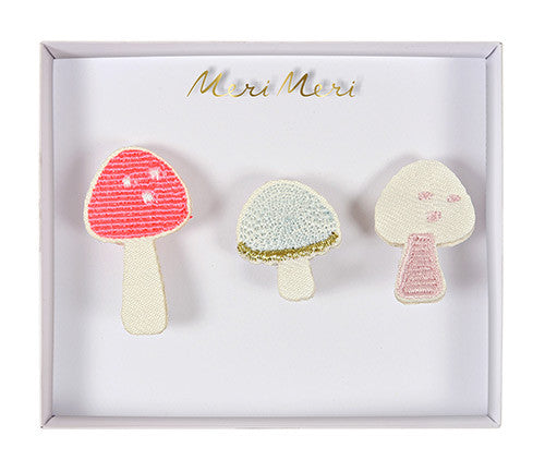 Embroided Mushroom Brooches
