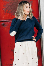 French Navy V Neck Jumper