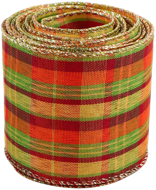 iSTOYO Golden Wired Burlap Plaid Ribbon for Christmas/Hallween/Fall Decoration Bows