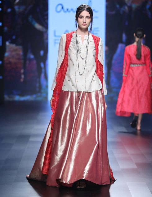 Red slit Benarasi jacket
