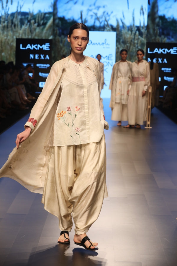 Silk Dhoti pants, linen top and tissue jacket in Ecru white