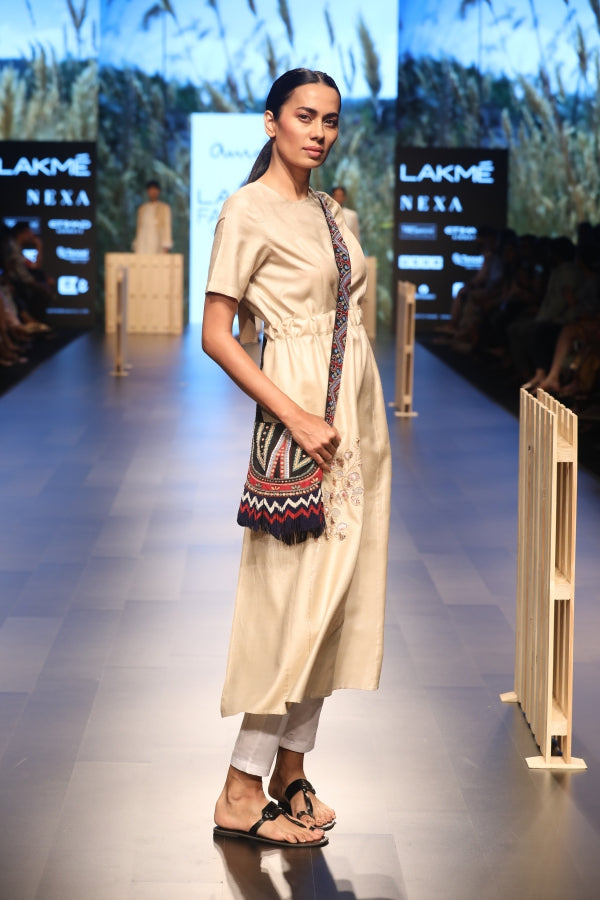 Ecru beige silk backless kurta with linen pants