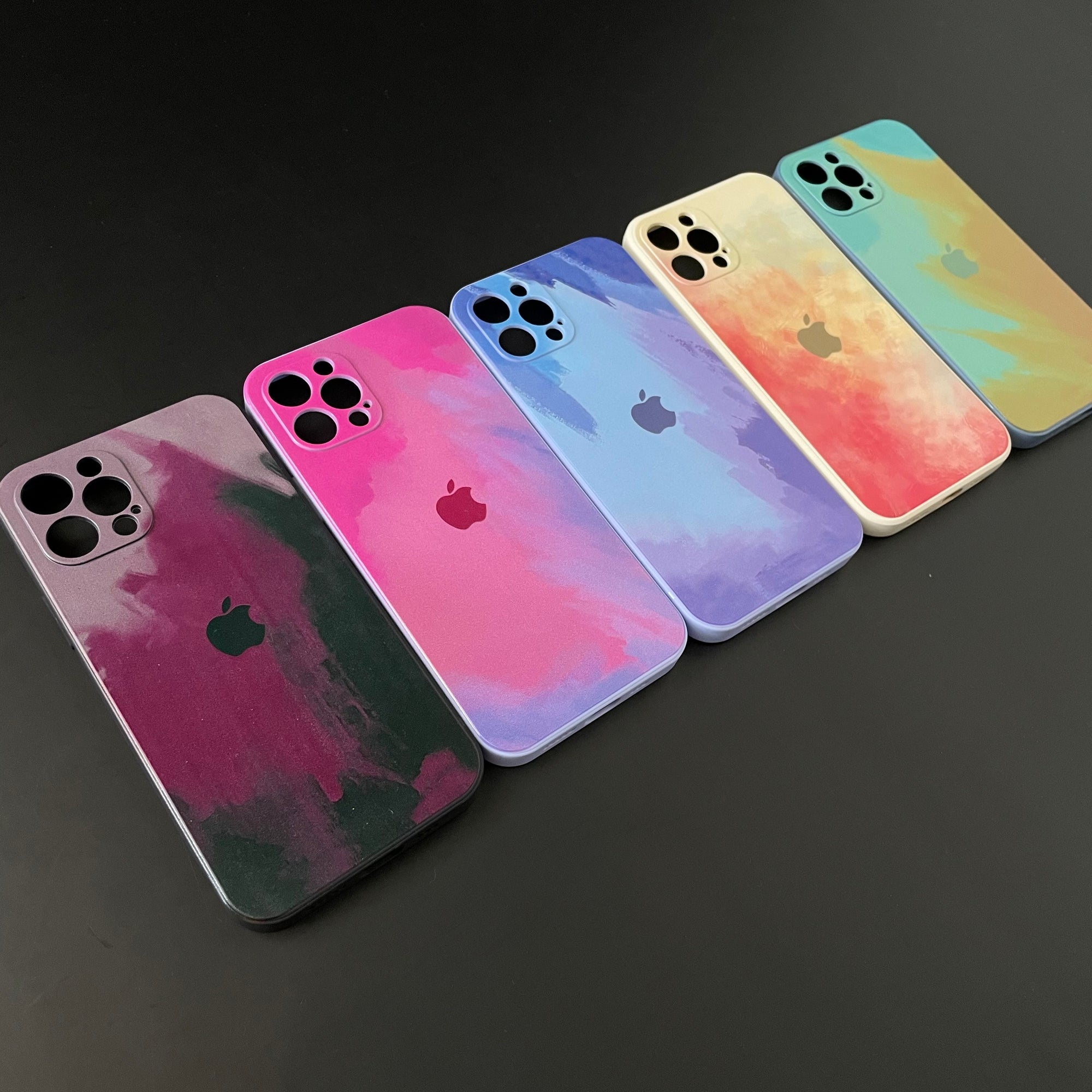 Iphone Water Colour SIlicone Lens Protection Casing
