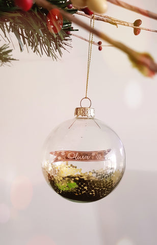 Personalised glass Christmas baubles - Craft Me Pretty (CMP Lasercraft - Perth Laser cutting)