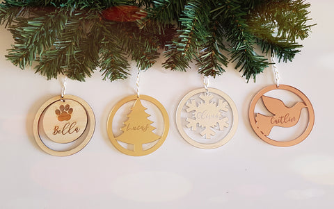 Personalised Christmas baubles - Craft Me Pretty (CMP Lasercraft - Perth Laser cutting)