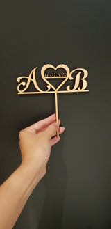 Initials heart cake topper - Craft Me Pretty (CMP Lasercraft - Perth Laser cutting)