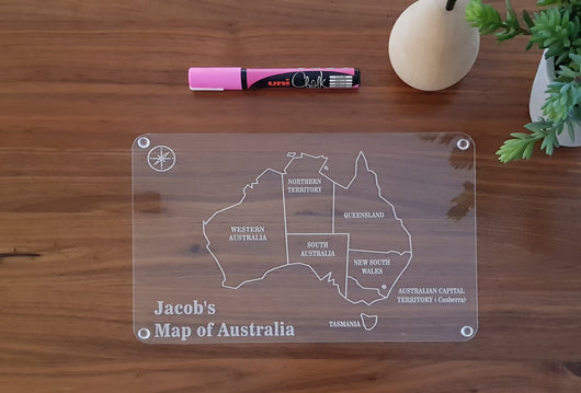 Map of Australia write and wipe board - Craft Me Pretty (CMP Lasercraft - Perth Laser cutting)