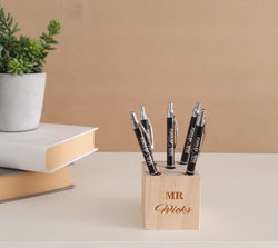 Personalised pen block with  personalised pens included.