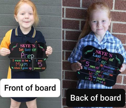 Double sided first/ last day of school board - Craft Me Pretty (CMP Lasercraft - Perth Laser cutting)