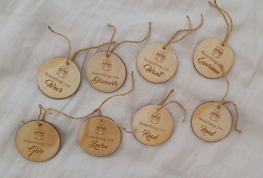 christmas gift tag, christmas, christmas gift ideas, laser engraving, laser cutting, laser cut gift, something you wear tags, something you want tags, christmas gift wrapping,