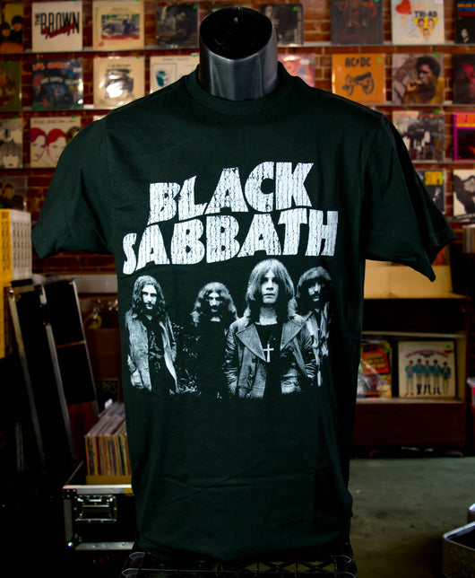 Black Sabbath - Band / Grey on Black T Shirt
