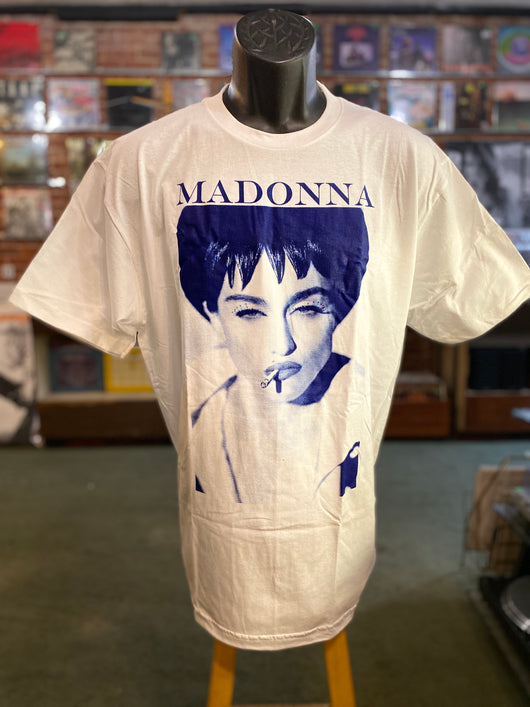 Madonna - Blue on White T Shirt