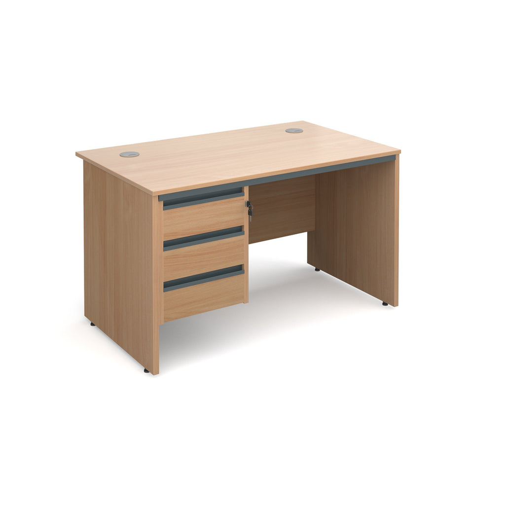 Maestro Straight Panel End Desk With 3 Drawer Pedestal - Zilo Furniture