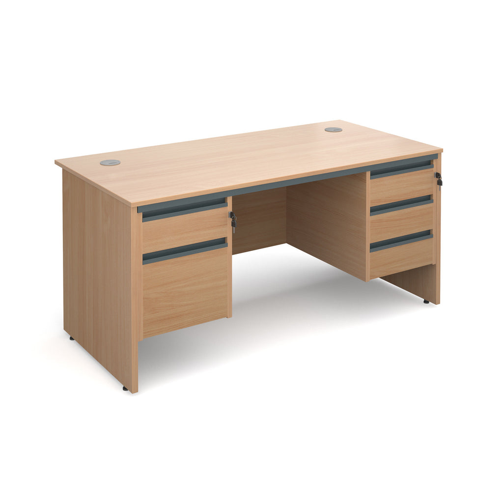 Maestro Straight Panel End Desk With Two & Three Drawer Pedestals - Zilo Furniture