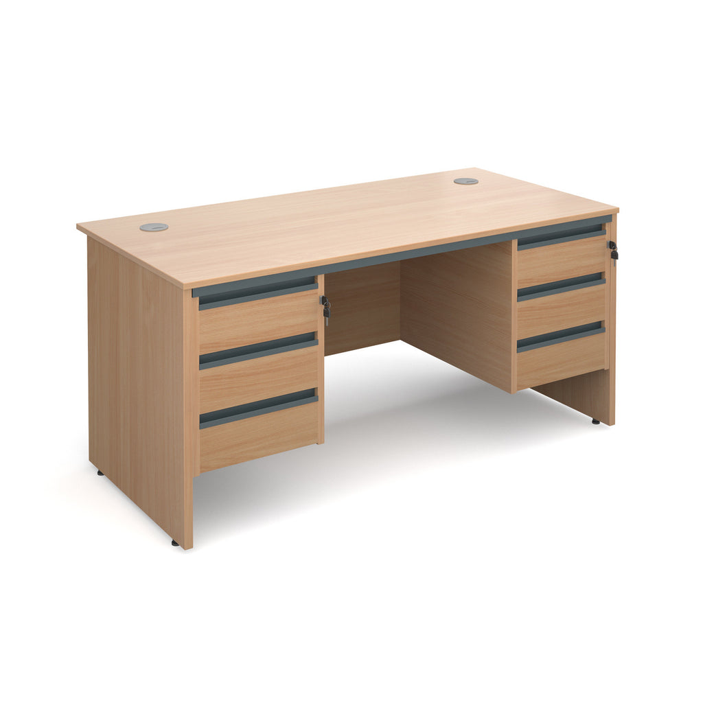 Maestro Straight Panel End Desk With 2 Three Drawer Pedestals - Zilo Furniture