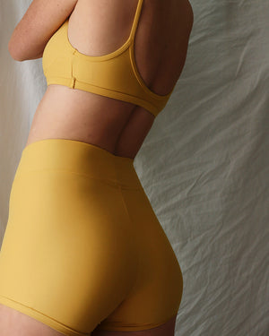 Bike Short - mustard (suede look)