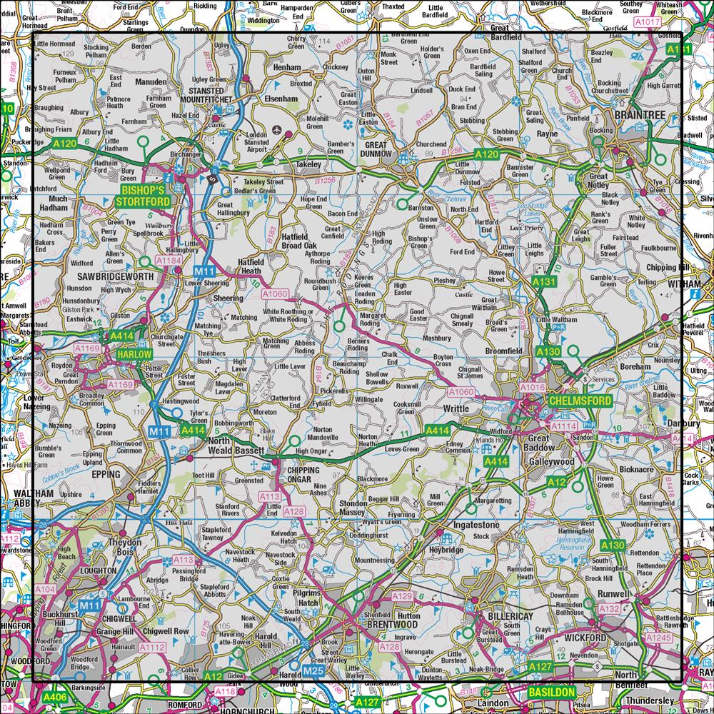 Bishops Stortford Map 167 Chelmsford Harlow & Bishop's Stortford | OS 1:50,000