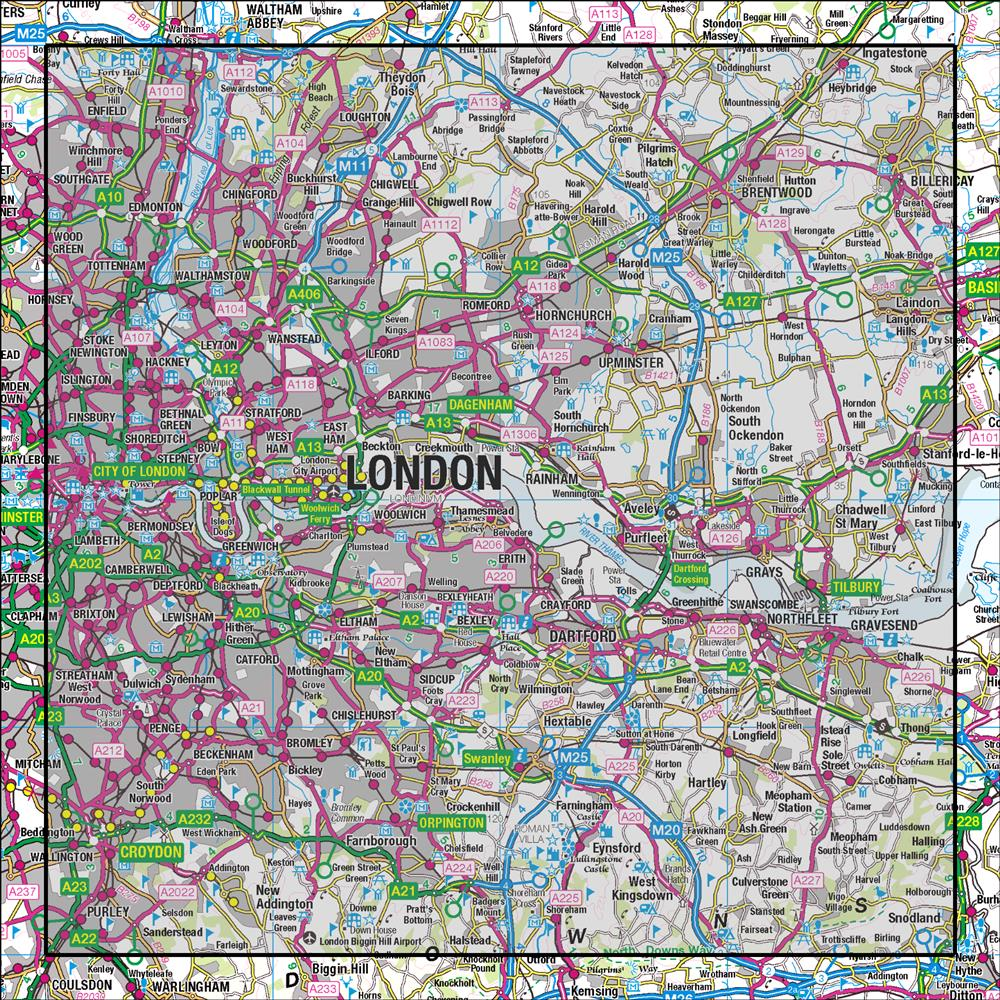 East London On Map.177 East London Billericay Gravesend