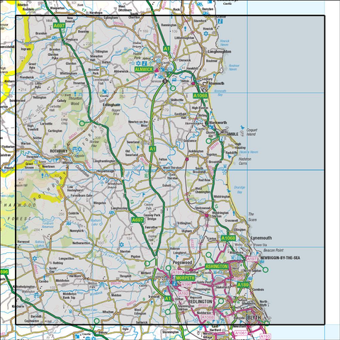 81 Alnwick & Morpeth Rothbury & Amble - Anquet Maps