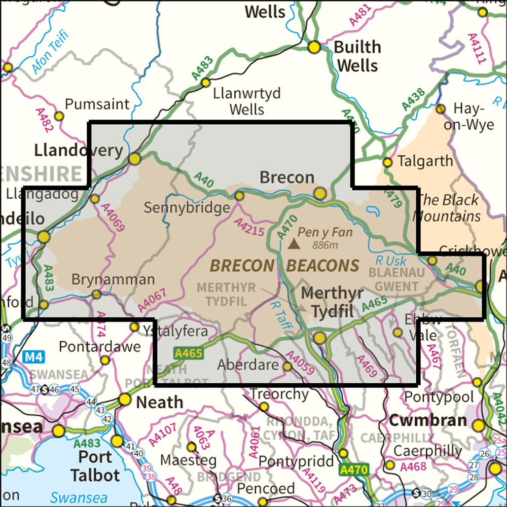 Map Of Brecon Beacons BMM Brecon Beacons Harvey Maps 8, bmm – Anquet Maps Map Of Brecon Beacons