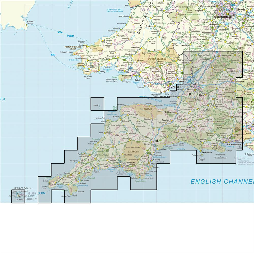 Map Of The South Of England.Os 50k Regionals