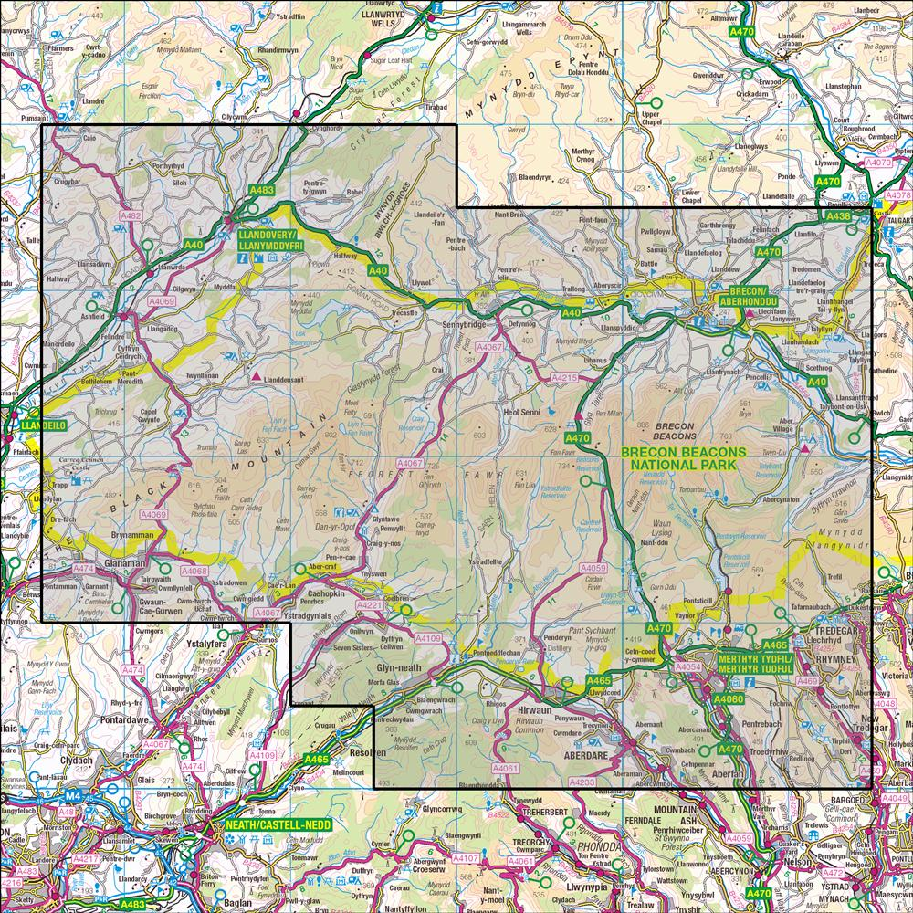 OL12 Brecon Beacons National Park West & Central on offa's dyke map, salisbury map, anglesey map, thames path map, mourne mountains map, cardiff map, isles of scilly map, belfast map, somerset map, lake district map, ceredigion map, cambrian mountains map, hemel hempstead map, dartmoor map, ebbw vale map, ben nevis map, great britain map, river severn map, big bend national park map,