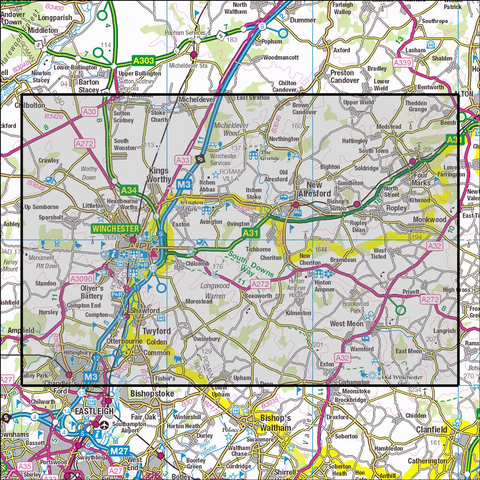 132 Winchester, New Alresford & East Meon - OSVMLC - Anquet Maps