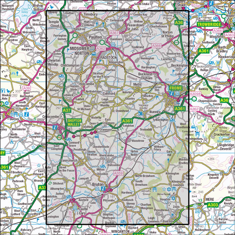 142 Shepton Mallet & Mendip Hills East - OSVMLC - Anquet Maps