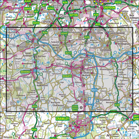 146 Dorking, Box Hill & Reigate Historical Mapping - Anquet Maps
