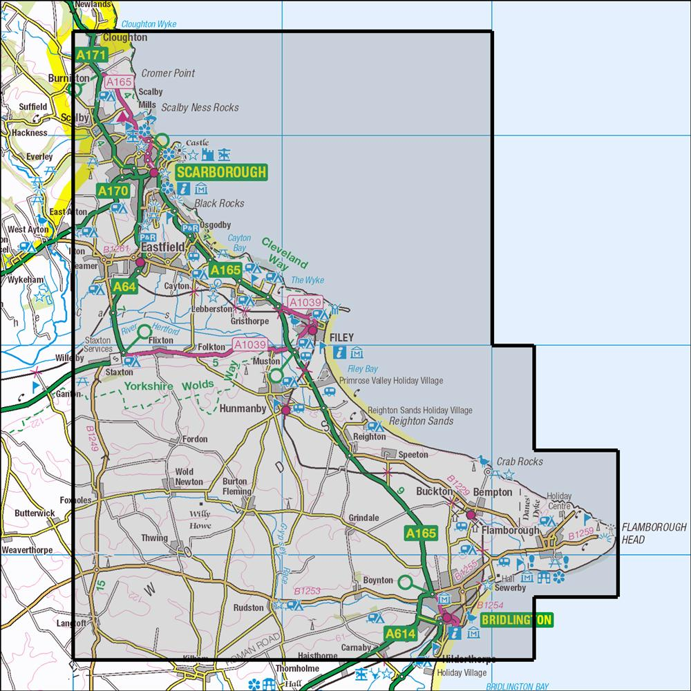 Flamborough Head Map 301 Scarborough, Bridlington & Flamborough Head | OS 1:25,000