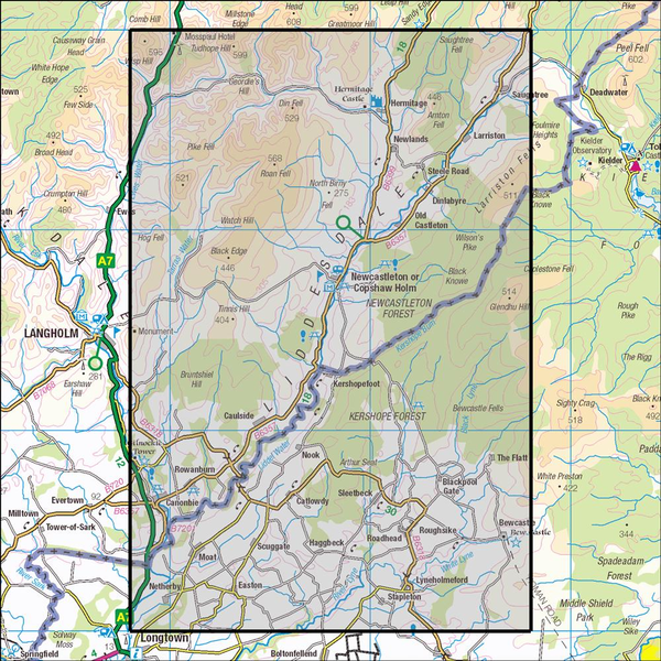 OS Explorer Map Active 324 Liddesdale and Kershope Forest OS Explorer Active Map