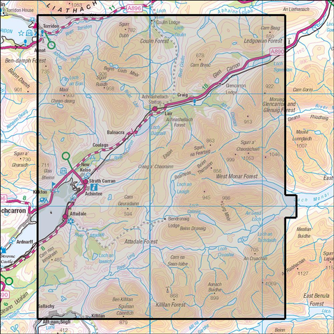 429 Glen Carron & West Monar - Anquet Maps