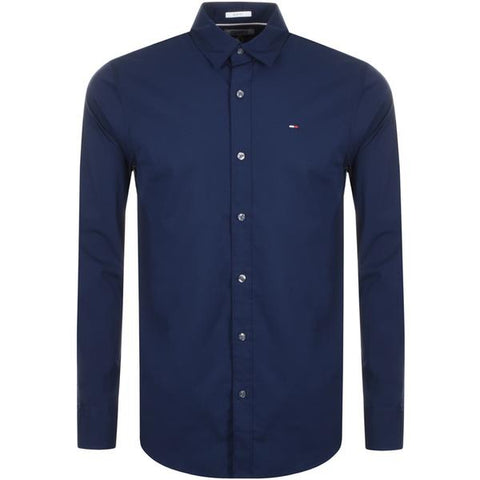 Tommy Jeans Stretch Long Sleeved Shirt Navy - 7clothing
