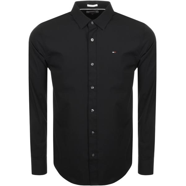 Tommy Jeans Stretch Long Sleeved Shirt Black Tommy Jeans - 7clothing Cardiff