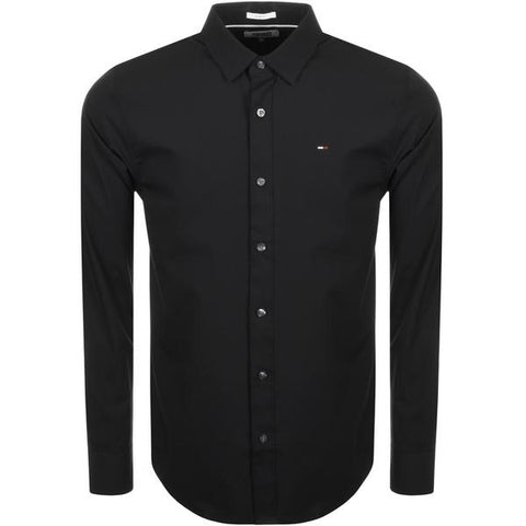 Tommy Jeans Stretch Long Sleeved Shirt Black - 7clothing