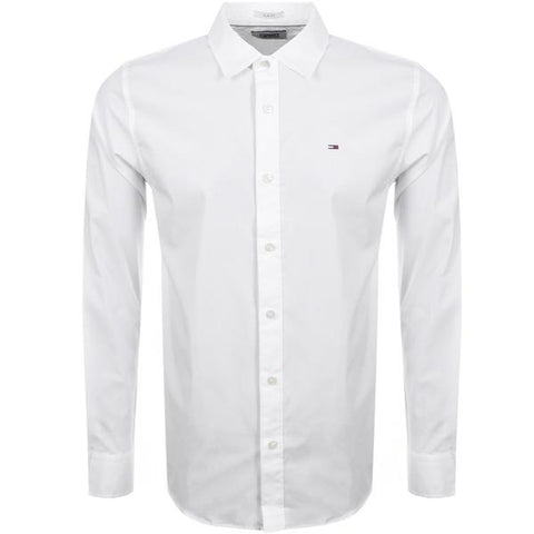 Tommy Jeans Stretch Long Sleeved Shirt White Tommy Jeans - 7clothing Cardiff
