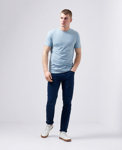 Remus Tapered Fit Cotton-Stretch T-Shirt Sky Blue 53121 - 7clothing