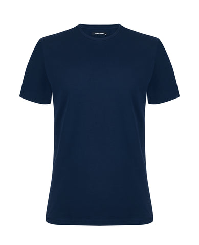 Remus Tapered Fit Cotton-Stretch T-Shirt Navy 53121 - 7clothing