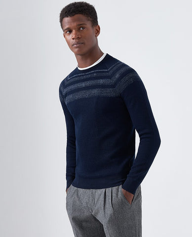 Slim Fit Merino Wool-Blend Crew Neck Sweater 58404 Remus Uomo Jeans - 7 clothing Cardiff