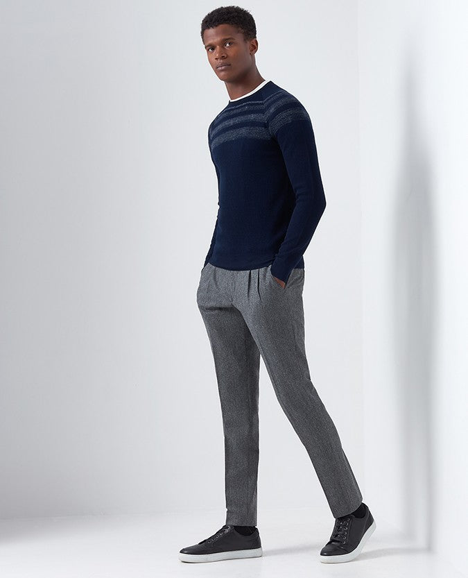 Slim Fit Merino Wool-Blend Crew Neck Sweater 58404