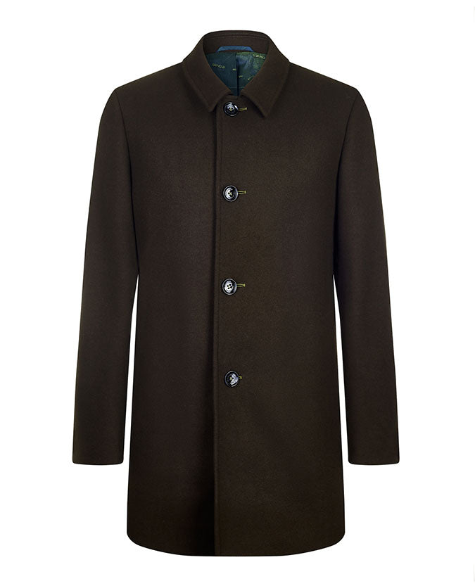 Remus Tapered Fit Wool-Mix Overcoat Olive 90213 Remus Uomo Jeans - 7clothing Cardiff