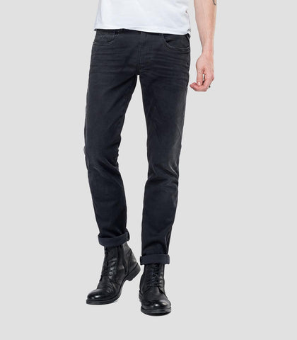 Replay SLIM FIT HYPERFLEX ANBASS JEANS CLOUDS Black Replay - 7 clothing Cardiff