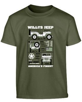 Kids Willys Jeep T-shirt - Olive Green 12-13