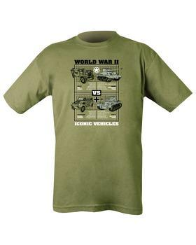 WWII Iconic Vehicles T-shirt - Olive Green XXL