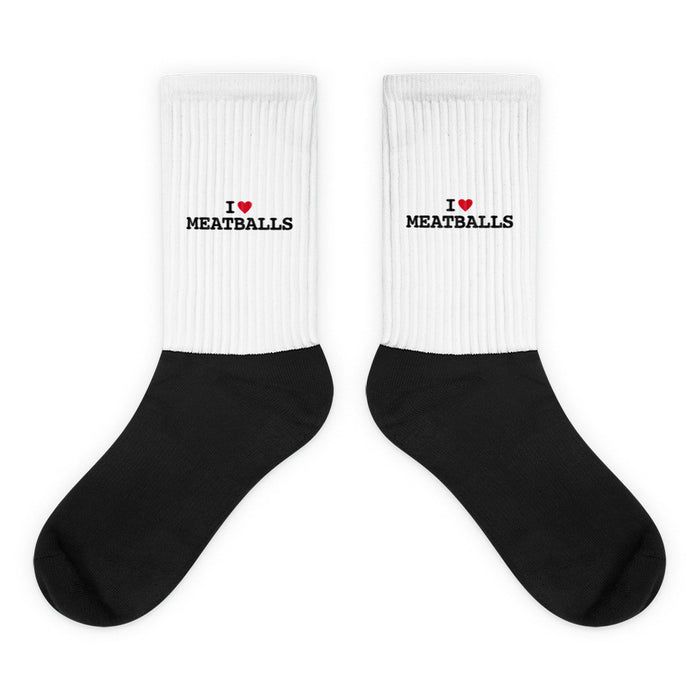 I Heart Meatballs Black Foot Socks
