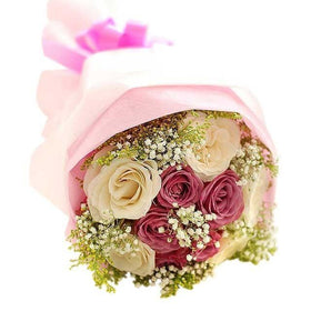 9 Stems Of Pink And White Roses Hand Bouquet