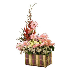 Pink Gerberas With White Carnations And Other Flowers Table Arrangement