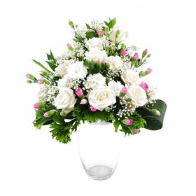 Arrangement Of White Roses And Pink Carnation In Glass Vase