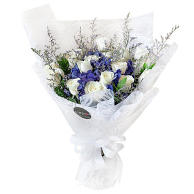 White Rose and Blue Hydrangea Bouquet