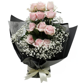 Standing Rose Eleganza Hand Bouquet - Classy Pink